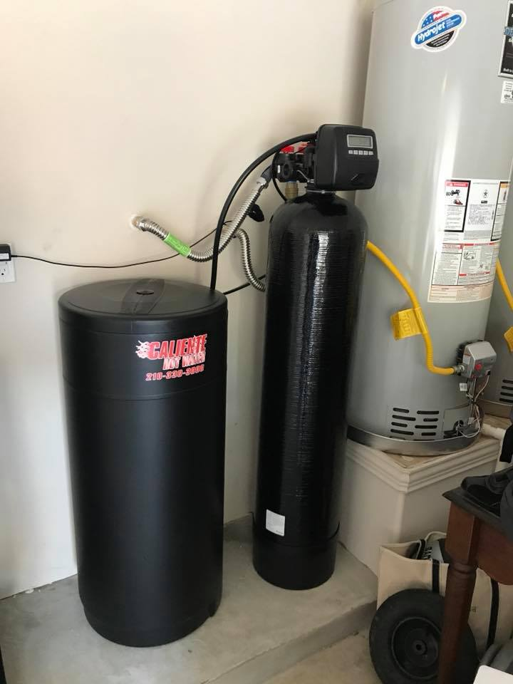 newly installed water heater and water softener