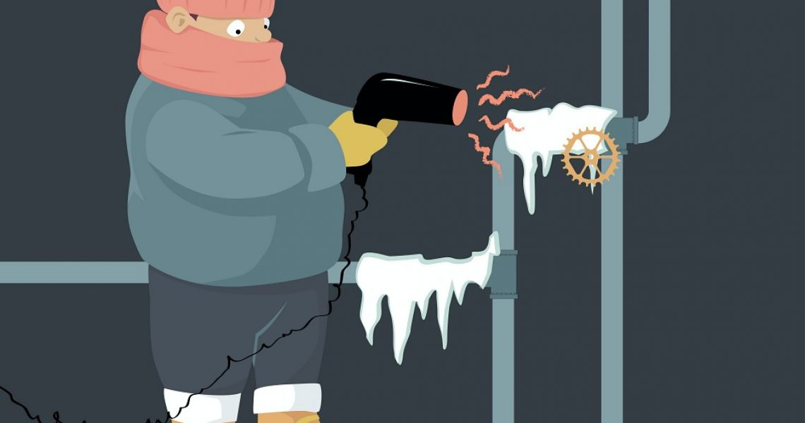 Graphic of man thawing frozen pipes